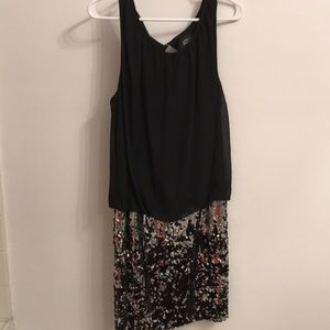 Black and sequin mini party dress